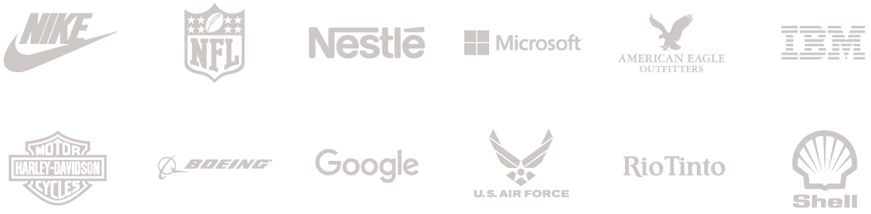 Arbinger clients. Nike, National Football League, Nestlé, Microsoft, American Eagle Outfitters, IBM, Harley-Davidson Motorcycles, Boeing, Google, U.S. Air Force, Rio Tinto, Shell